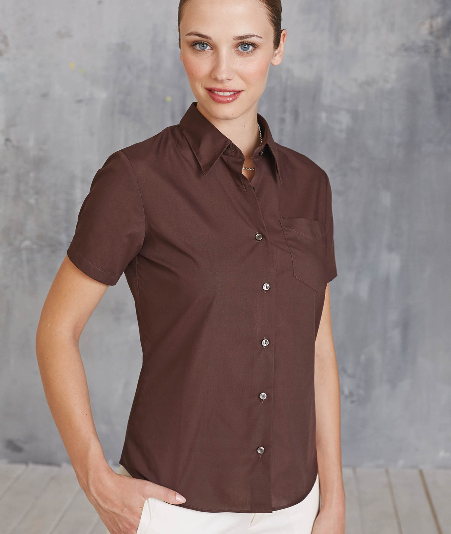 KARIBAN JUDITH LADIES SHORT SLEEVE EASY CARE POLYCOTTON POPLIN SHIRT