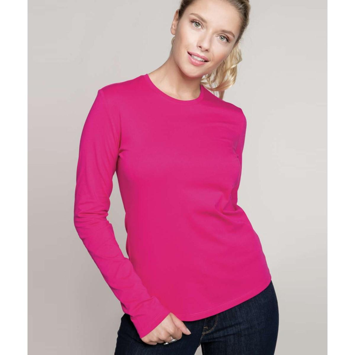 Kariban ladies long sleeve round neck t shirt for Round neck t shirts for ladies
