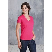 KARIBAN LADIES SHORT SLEEVE V-NECK T-SHIRT