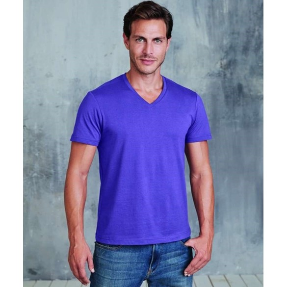 KARIBAN MENS SHORT SLEEVE V-NECK T-SHIRT