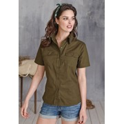 KARIBAN TROPICAL LADY SHORT SLEEVE FITTED SHIRT