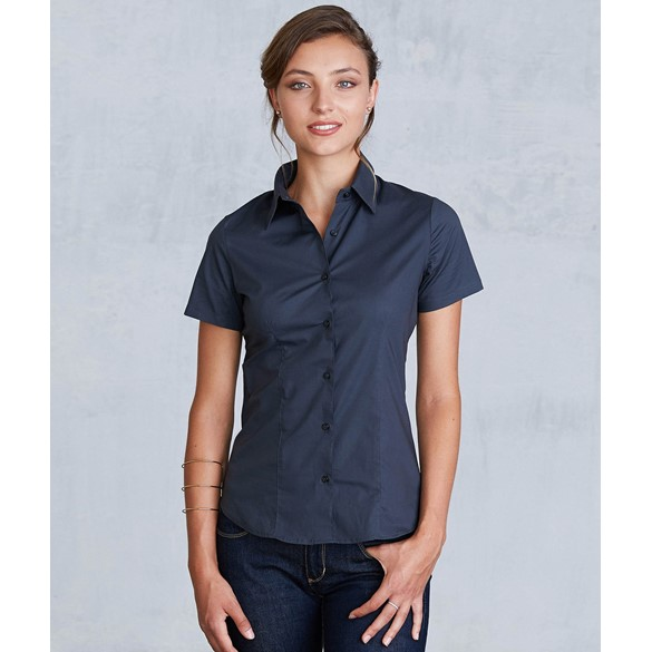 LADIES' SHORT-SLEEVED COTTON/ELASTANE SHIRT