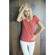 LADIES' V-NECK SHORT SLEEVE MELANGE T-SHIRT