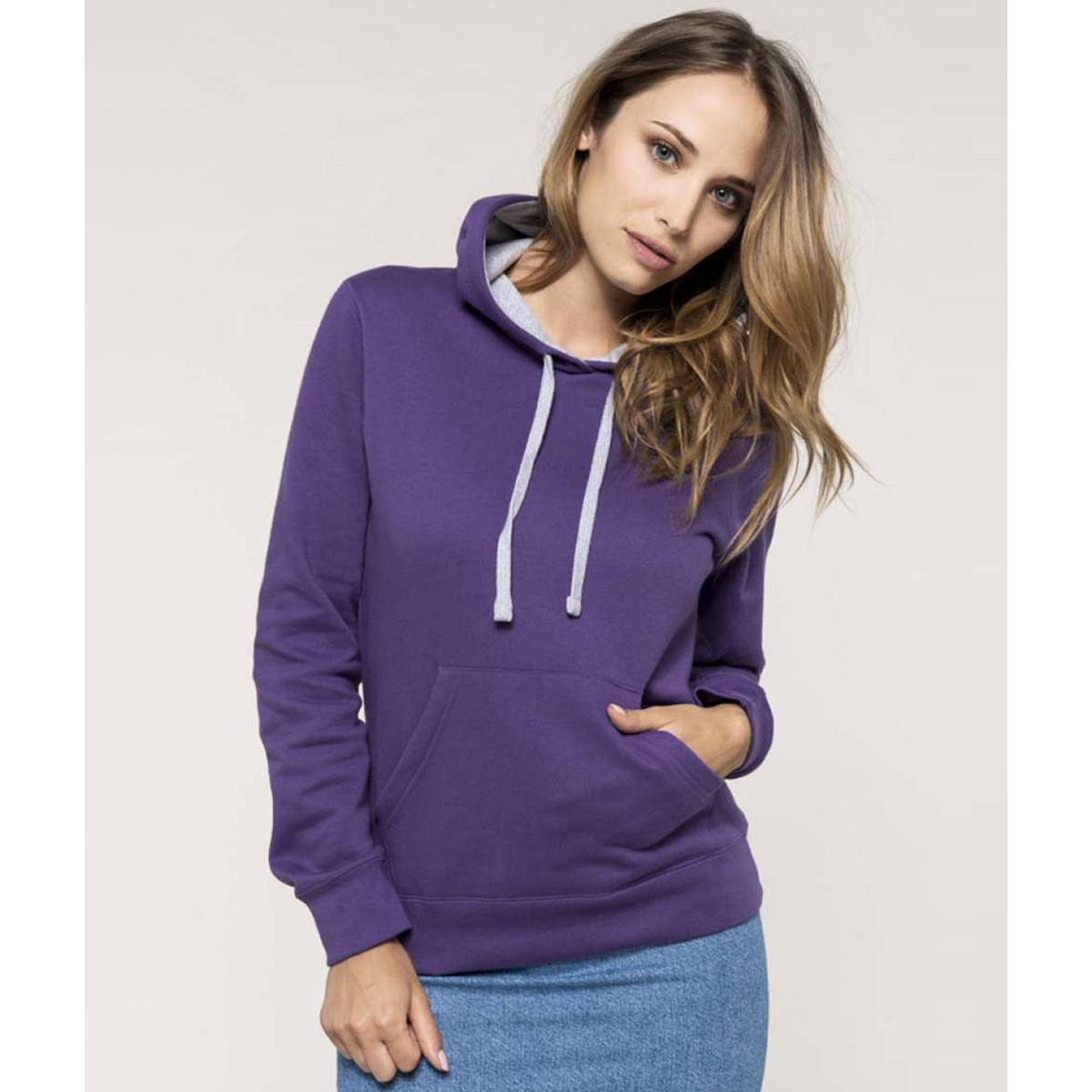 Sweat-shirt capuche contrastée femme KARIBAN fc2873d9b4a