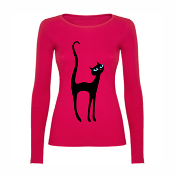 Woman T shirt LS Black Cat